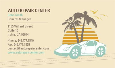Auto Repair Illustration Business Card Template